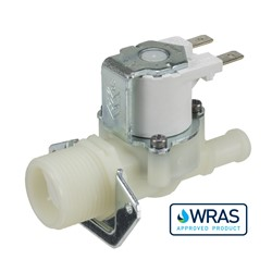 "Single inlet/outlet solenoid valve - 3/4"" BSP male inlet, 10.5-mm dia hosetail outlet 24V DC low power"