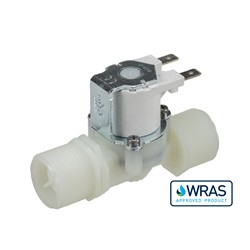 "Single inlet/outlet solenoid valve - 3/4"" BSP male inlet, 3/4"" BSP male outlet 240V AC with bracket"