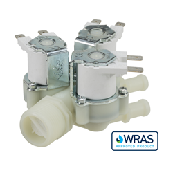 "Single Inlet Triple Outlet water solenoid valve - 3/4"" BSP male inlet, triple outlets 10.5-mm hosetail - 12V AC/DC"