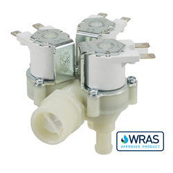 "Single Inlet Triple Outlet water solenoid valve - 3/4"" BSP male inlet, three 10.5-mm dia hosetail outlets 240V"