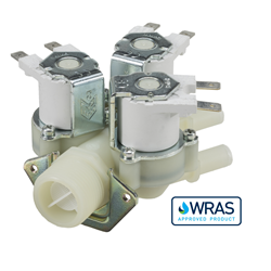 "Single Inlet Triple Outlet water solenoid valve - 3/4"" BSP male inlet, three 10-mm dia plain outlets 240V"