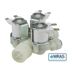 "Single Inlet Triple Outlet water solenoid valve - 3/4"" BSP male inlet, three 8-mm push-fit outlets 240V"