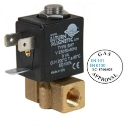 "1/8"" BSP 2 way normally closed brass solenoid valve - 2mm orifice FKM seal - 12V AC - Gas Approved"
