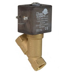 "3/8"" BSP 2 way normally closed servo assisted steam solenoid valve - 10mm orifice PTFE seal"