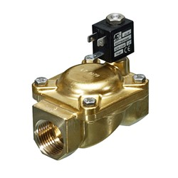 "1¼"" BSP - 2-way latching brass servo assisted solenoid valve - 30mm orifice WRAS EPDM seal - With manual override - 6V DC 5W"