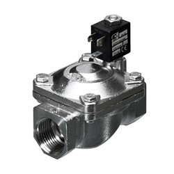 "3/8"" BSP - 2-way normally open S.Steel assisted lift solenoid valve - 12mm orifice FPM seal -  DC voltages only"