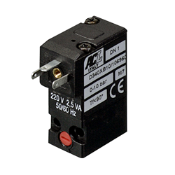 1mm flange - Normally open - 3-way air solenoid valve - 24V DC