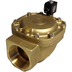 "3"" BSP - 2-way normally closed brass servo assisted solenoid valve - 75mm orifice NBR seal - with reinforced diaphragm and manual override - 24V DC"