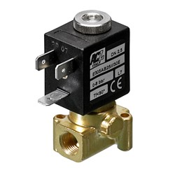 "1/8"" BSP 3 way normally closed direct acting solenoid valve - 2.0 mm orifice FPM seal"