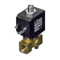 "1/8"" BSP 3 way normally closed direct acting solenoid valve - 2.5 mm orifice NBR seal"