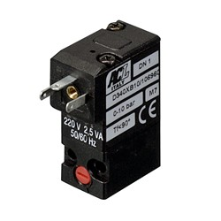 1.2mm flange - Normally closed - 3-way air solenoid valve - 24V AC - Gasket included