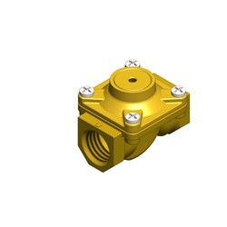 "1"" BSP - 2-way normally closed brass servo assisted pneumatically operated valve - 25mm orifice NBR seal"