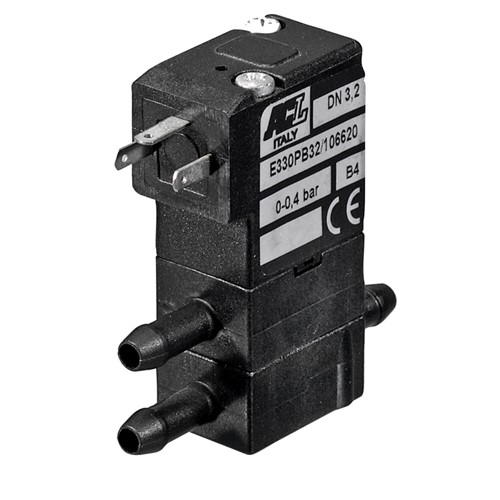 3-way normally closed plastic solenoid valve 230v AC on